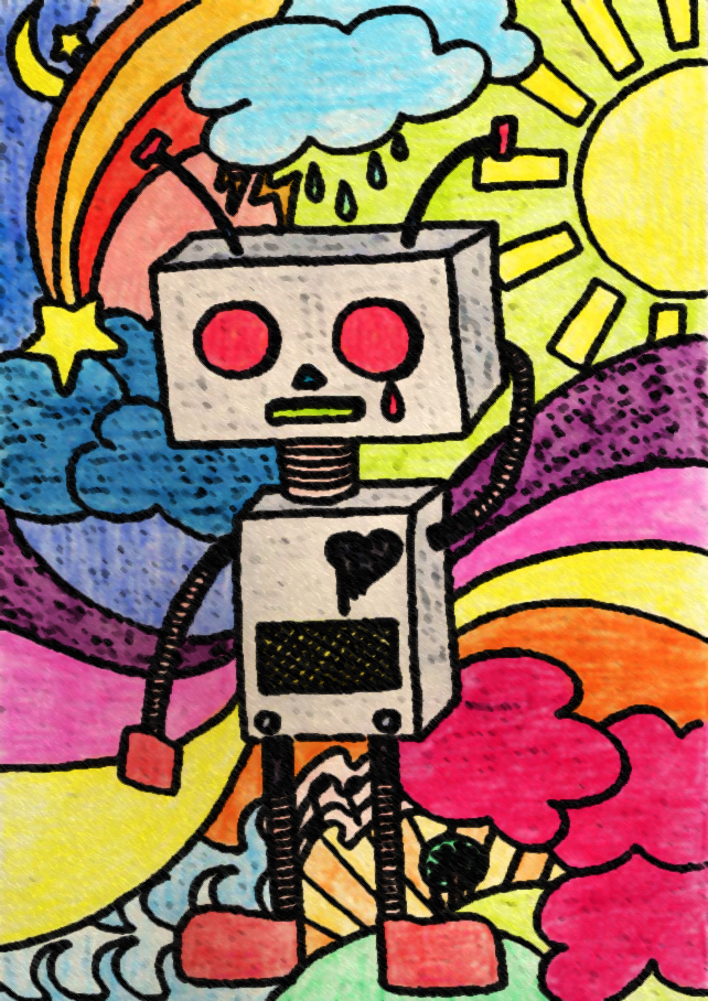 Overwhelmed Robot by Jessamine Verzosa is licensed under a Creative Commons Attribution-NonCommercial-NoDerivatives 4.0 International License.